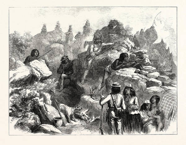 Lava Drawing - The Modoc Indians In The Lava Beds by American School