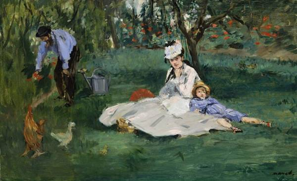 Wall Art - Painting - The Monet Family In Their Garden At Argenteuil by Edouard Manet