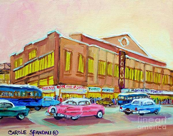 Montreal Street Scene Painting - The Montreal Forum by Carole Spandau