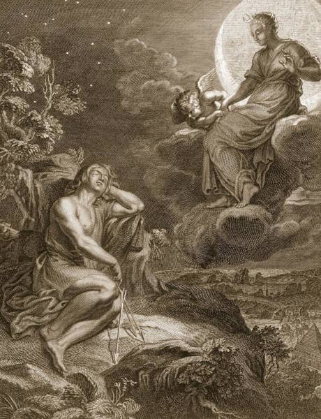 Goddess Drawing - The Moon And Endymion, 1731 by Bernard Picart