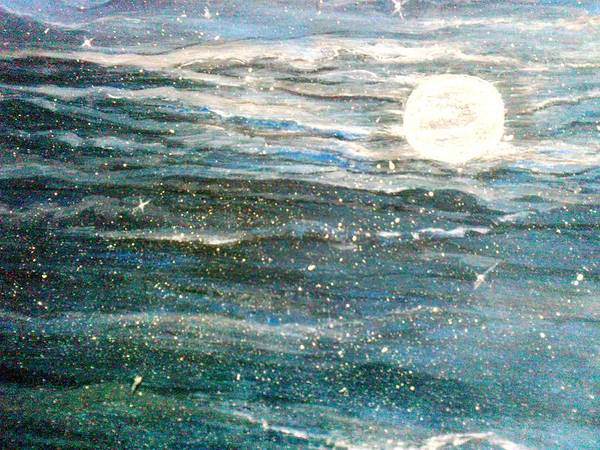 Star Cluster Painting - The Moon Charm by Karunita Kapoor