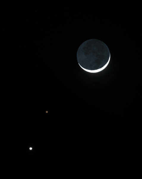 Photograph - The Moon With Mars And Venus by Loree Johnson