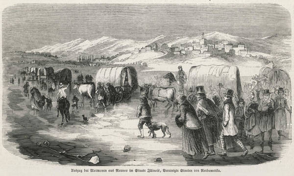 Wall Art - Drawing - The Mormons Leave Nauvoo,  Illinois by Mary Evans Picture Library