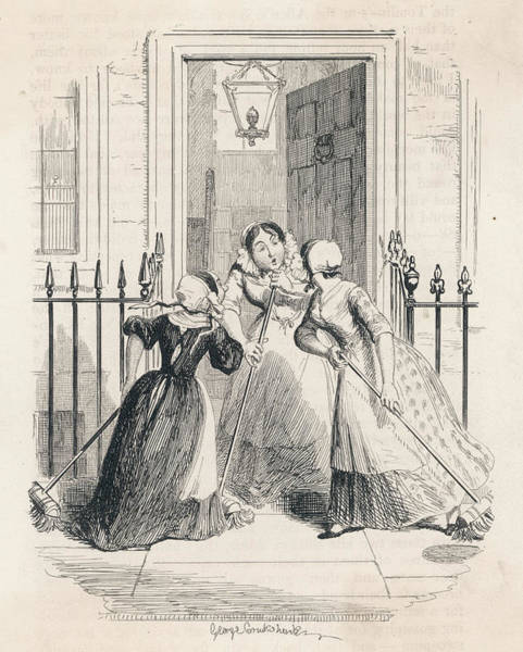 Wall Art - Drawing - 'the Morning Gossip' A Housemaid by Mary Evans Picture Library