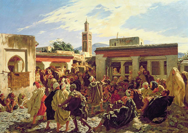 Square Tower Painting - The Moroccan Storyteller by Alfred Dehodencq
