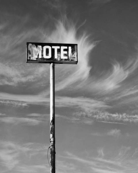 Wall Art - Photograph - The Motel Sign Bw Palm Springs by William Dey