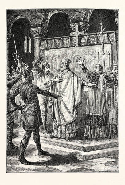 Wall Art - Drawing - The Murder Of Thomas Becket by English School