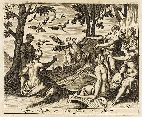Magpies Drawing - The Muses Are Challenged By  The Nine by Mary Evans Picture Library
