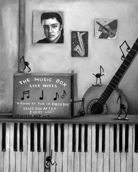 Sax Painting - The Music Box Bw by Leah Saulnier The Painting Maniac