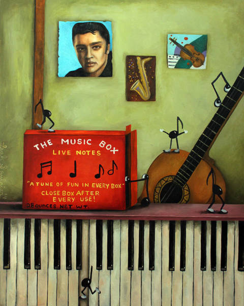 Sax Painting - The Music Box Edit 2 by Leah Saulnier The Painting Maniac