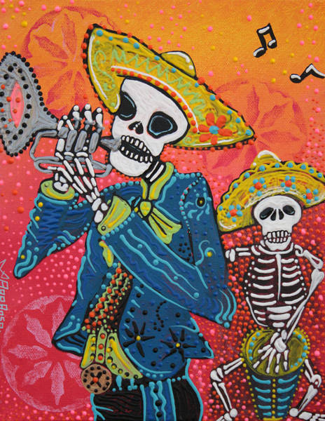 Wall Art - Painting - The Musical Dead by Laura Barbosa