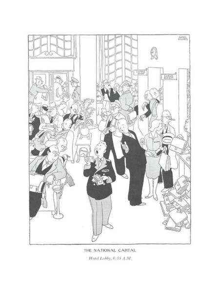 8 Drawing - The National Capital Hotel Lobby by Gluyas Williams
