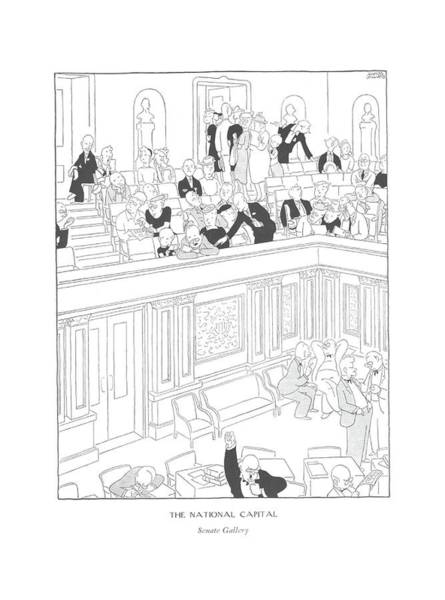 Wall Art - Drawing - The National Capital  Senate Gallery by Gluyas Williams