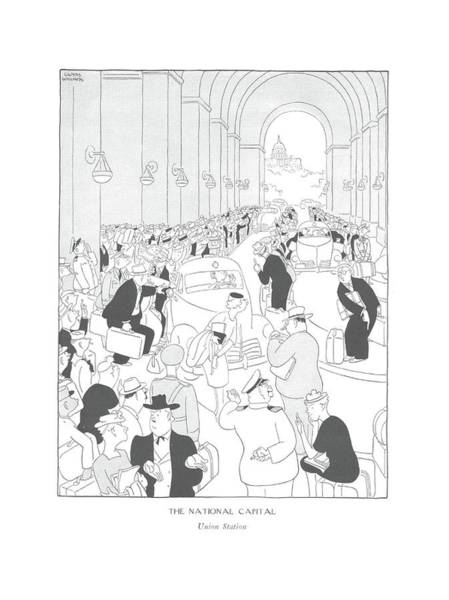 Landmark Drawing - The National Capital  Union Station by Gluyas Williams