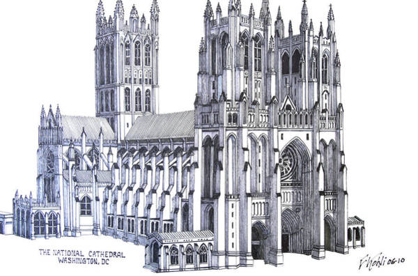 Wall Art - Drawing - The National Cathedral by Frederic Kohli