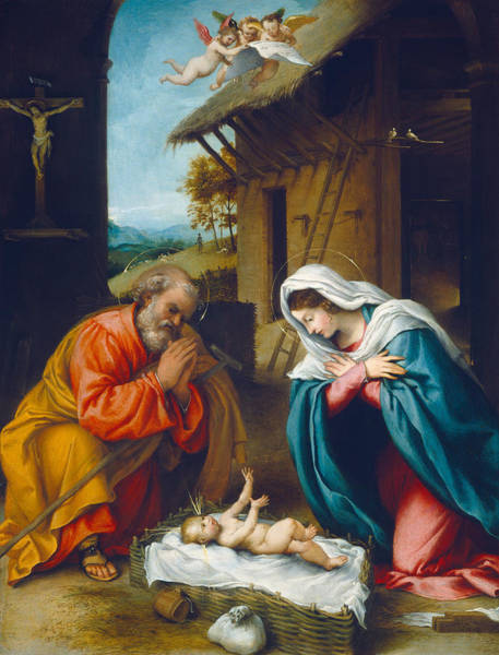 Kneeling Painting - The Nativity 1523 by Lorenzo Lotto
