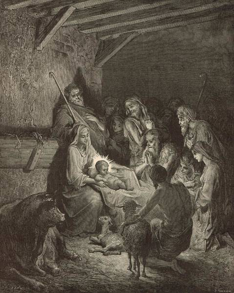 Scriptural Painting - The Nativity by Antique Engravings