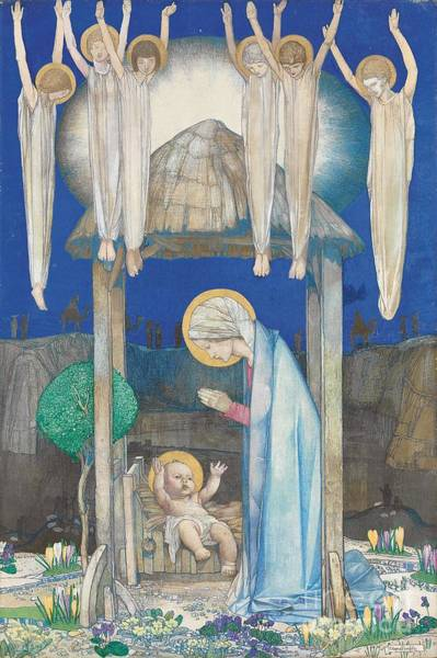 Pre-raphaelite Painting - The Nativity by Edward Reginald Frampton