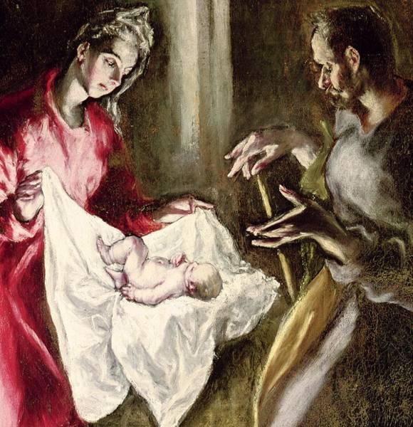 Circular Painting - The Nativity by El Greco Domenico Theotocopuli