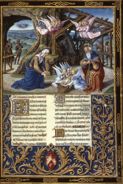 Wall Art - Painting - The Nativity Illumination From A Late by Granger