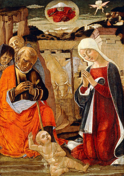 Groups Of People Painting - The Nativity With The Annunciation To The Shepherds In The Distance by Benvenuto di Giovanni