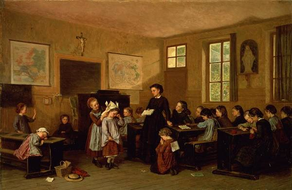 Classroom Photograph - The Naughty School Children by Theophile Emmanuel Duverger