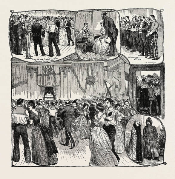 Wall Art - Drawing - The Naval Volunteers Ball Held At Glasgow, Engraving 1890 by English School