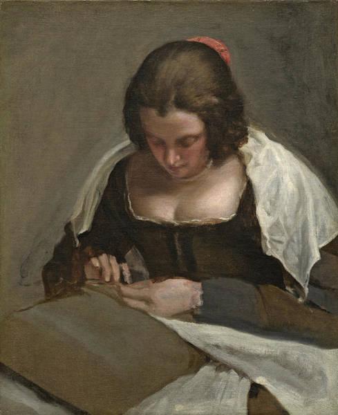 Femme Painting - The Needlewoman, C.1640-50 by Diego Rodriguez de Silva y Velazquez