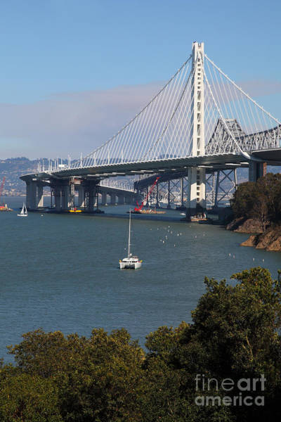 Photograph - The New And The Old Bay Bridge San Francisco Oakland California 5d25409 by Wingsdomain Art and Photography