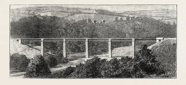 Wall Art - Drawing - The New Devon And Somerset Railway Castle Hill Viaduct by English School