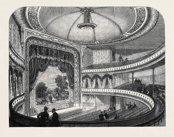 Globe Theatre Drawing - The New Globe Theatre Strand London Uk 1869 by English School