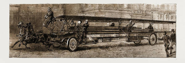 Wall Art - Drawing - The New Ladder-truck For Saving Life At Fires First Used by Litz Collection