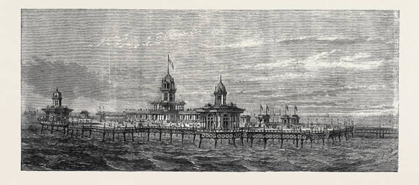Brighton Pier Drawing - The New Pier At New Brighton Cheshire Uk 1867 by English School