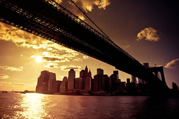 Liberty Bridge Photograph - The New York City Skyline - Sunset by Vivienne Gucwa