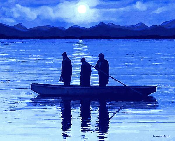 Painting - The Night Fishermen by Sophia Schmierer