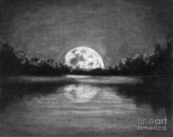 Riverbank Drawing - The Night Walked Down The Sky by J Ferwerda