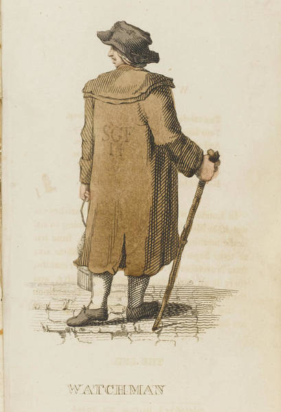 Night Time Drawing - The Night Watchman On His  Rounds by Mary Evans Picture Library