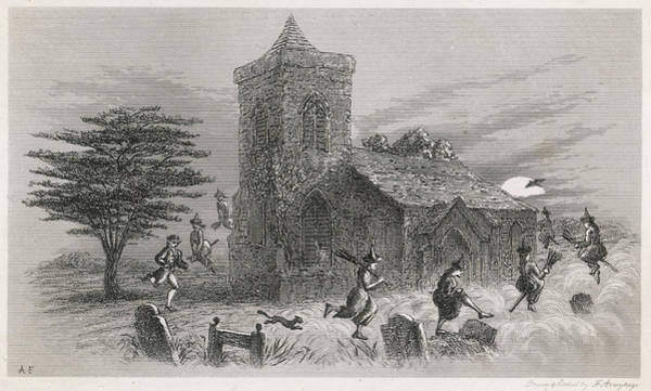 Gravestone Drawing - The North Berwick Witches And Dr Fian by Mary Evans Picture Library