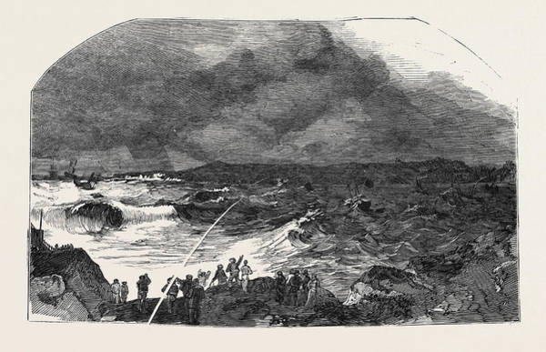 Stormy Drawing - The Northumberland Coast During The Late Gale by English School
