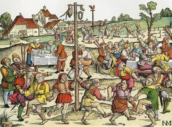 Folk Dances Photograph - The Nose Dance, After A 16th Century Woodcut By Nikolaus Meldemann.  A Rural German Dance Festival by Bridgeman Images