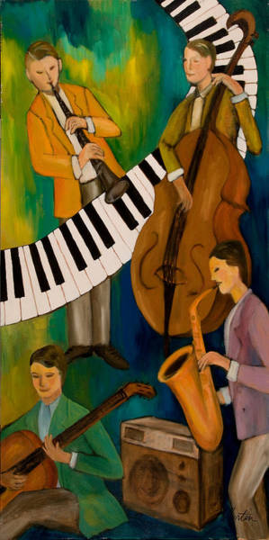 Wall Art - Painting - The Nostalgia Jazz Band II by Larry Martin