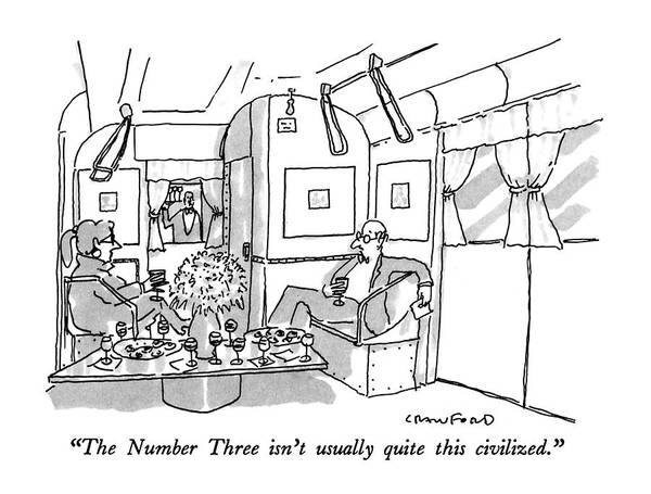 Waiter Drawing - The Number Three Isn't Usually Quite This by Michael Crawford