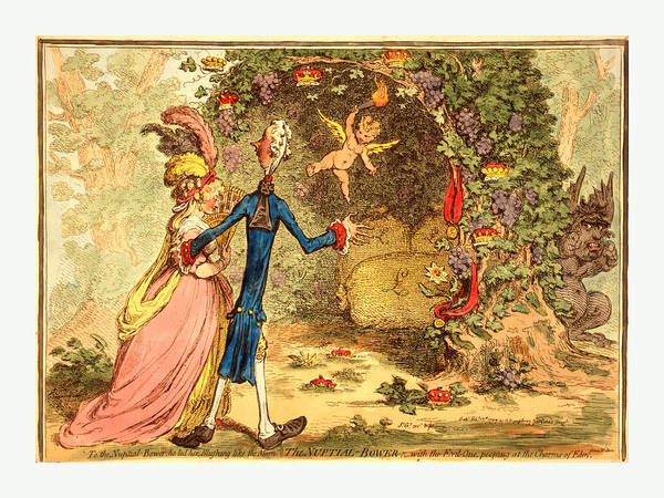 Debts Drawing - The Nuptial Bower, With The Evil One, Peeping At The Charms by Gillray, James (1756 Or 1757-1815), British