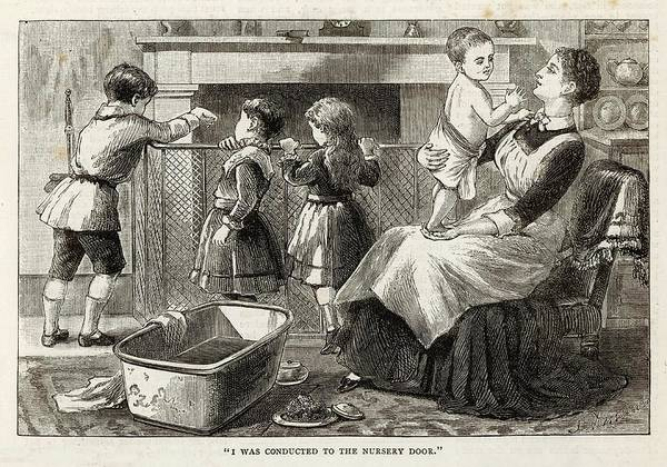 Wall Art - Drawing - The Nursemaid Baths The  Youngest by Mary Evans Picture Library