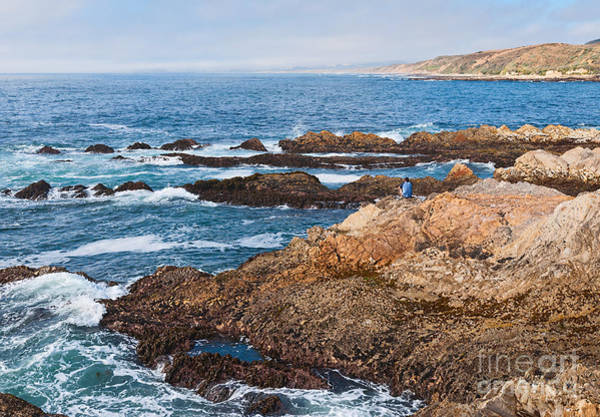 Montana De Oro State Park Photograph - The Observer - Jagged Rocks And Cliffs Of Montana De Oro State Park In California With Man Sitting by Jamie Pham