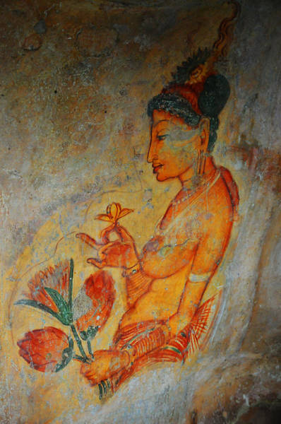 Golden Princess Photograph - The Ode For The Women Beauty. Sigiriyan Lady With Flowers. Sigiriya. Sri Lanka by Jenny Rainbow