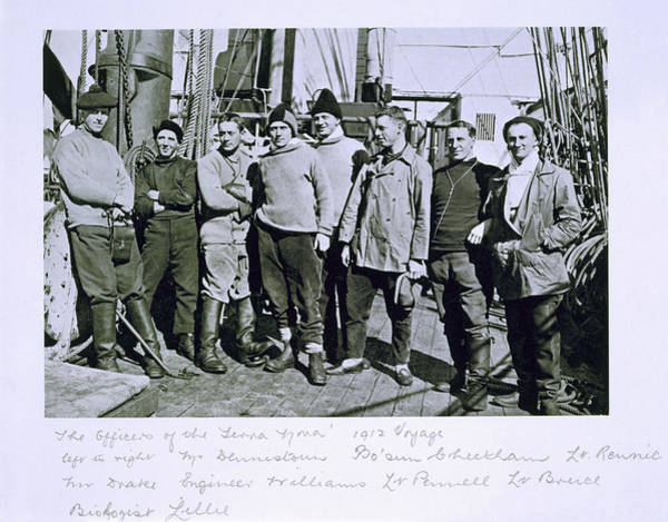 Deck Painting - The Officers Of The Terra Nova Expedition by Herbert Ponting