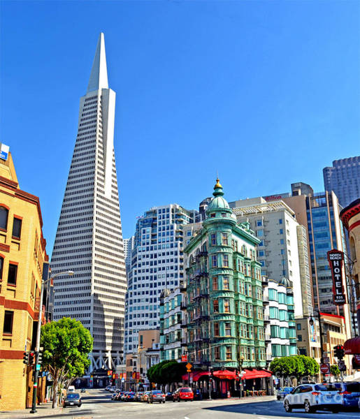 Wall Art - Photograph - The Old And The New The Columbus Tower And The Transamerica Pyramid II by Jim Fitzpatrick