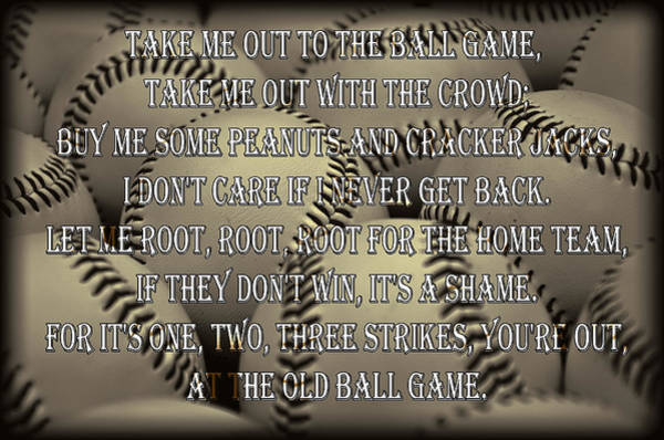 Cracker Photograph - The Old Ballgame by Ricky Barnard