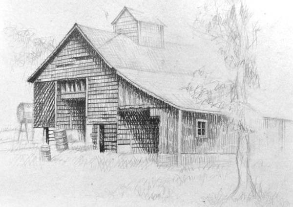 Drawing - The Old Barn by Bern Miller